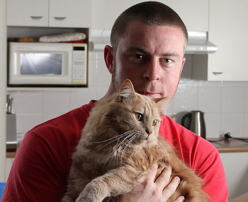 cute ginger cat and his daddy