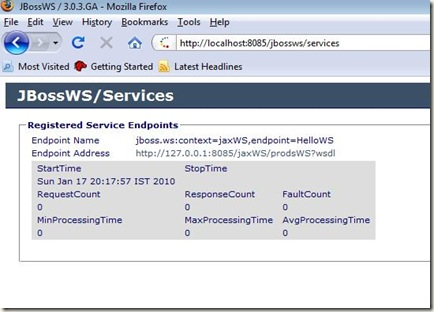 jbossws Services console