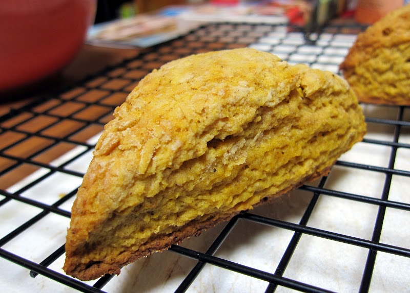 Youll know your pumpkin scones are ready when they just start to brown at the edges. Take them out and cool on a wire rack.