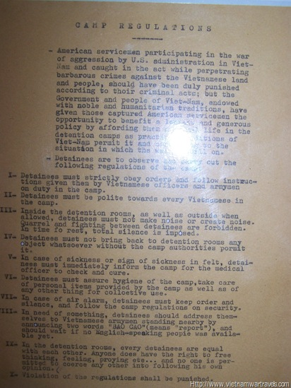 Hanoi Hilton POW regulations