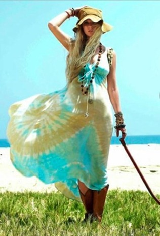 Gypsy 05 Alex Silk Tie-Dye Long Maxi Dress in Aqua Brown
