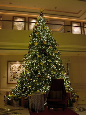 Christmas tree at the St Regis hotel in Singapore