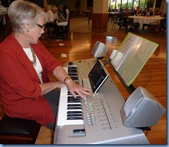 President of the Creative Keyboard Club North Shore, Marlene Forrest, playing the Tyros 3