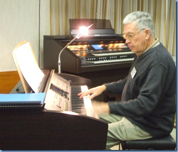 Club Treasurer, Jim Nicholson, playing three pieces on the Clavinova. Jim made good use of the Styles to come up with nice orchestrations.