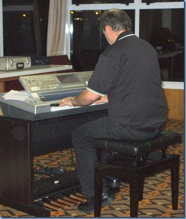 Another shot of Doug Farr playing his amazing KN7000 set-up. The tone and voice realism of the instrument were terrific. Doug reckons that the current set-up is a 'work-in-progess' and he will be working on lightening the enclosure stand and enclosing the many leads.