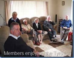 Ken Mahy, Jim Bickner, Neil Adams, Doreen Comyns, Alan Wilkins and John Beales enjoying the Tyros 3 being played