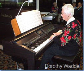 "Pianist, Dorothy Waddel, thrilled us with her superb playing. Wonderful orchestration choices. ""The Cloisters"" had 11 registration changes in it!"
