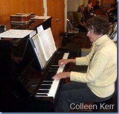 Colleen Kerr played some solo pieces on the Yamaha acoustic piano. Colleen also shared the arrival music duties with Peter Brophy and Gordon Sutherland
