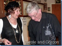 Carole Littlejohn and Gordon Sutherland sharing a lighter moment.