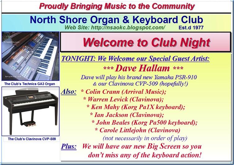 1 Club Night 5th Oct 2010