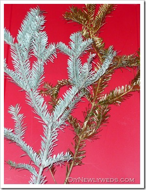 spray painted christmas tree branches