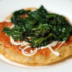 Tostadas with Kale, Refried Beans, and Cheese