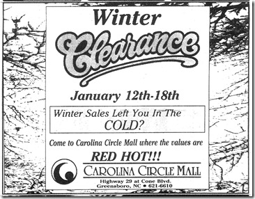 Winter Clearance January 10, 1996