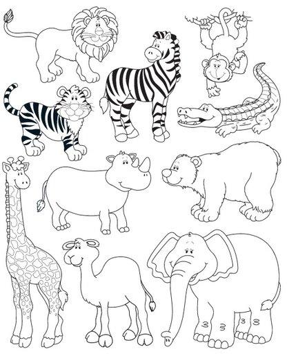 Dibujos de animales salvajes para pintar y colorear de la ...