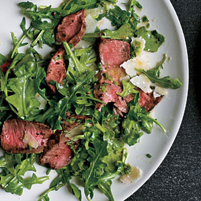 Grilled Steak with Baby Arugula and Parmesan Salad