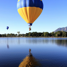 Balloon Reflection by Bryan Rasmussen - Artistic Objects Other Objects ( hot air balloon, reflection, sky, blue, ripple, lake, yellow, balloon )