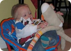 Braden with Sock Monkey