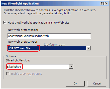 Silverlight New Project
