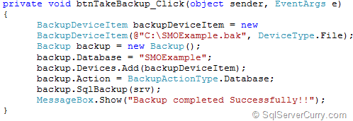 SQL Server SMO BackUp Database