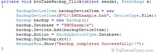 SQL Server SMO BackUp Database