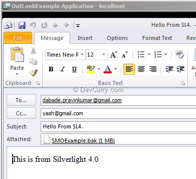 Silverlight Outlook Example
