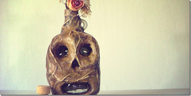 day of the dead skull upcycled art bottle
