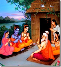 Sita, Rama, and Lakshmana meeting with a sage in the forest