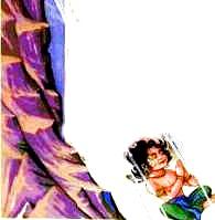 Prahlada being thrown off a mountain