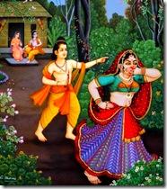 Lakshmana disfiguring Shurpanakha