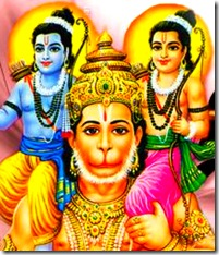 Hanuman holding Lakshmana and Rama