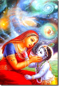Mother Yashoda seeing the universal form inside Krishna's mouth