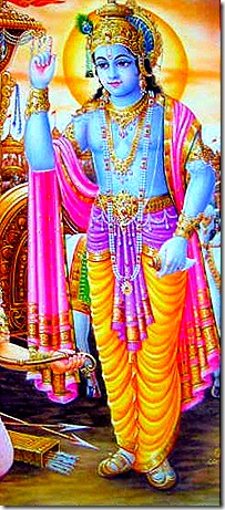 Lord Krishna delivering Bhagavad-gita