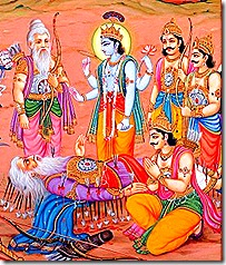 Bhishma thinking of Krishna at the time of death