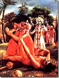 Bhima fighting Jarasandha