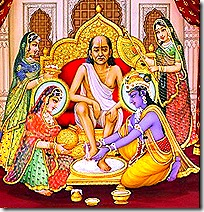 Lord Krishna welcoming Sudama Vipra
