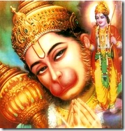 Hanuman praying to Rama