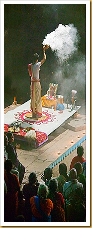 Hindu Priest on the Ganges at Diwali