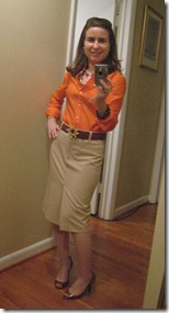Anne in Orange Dress Shirt and Light Camel Pencil Skirt with Joley Tortoise Heels