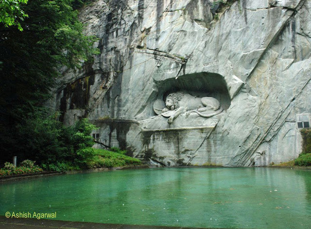 Photo of the Lion Monument in Lucerne in Switzerland