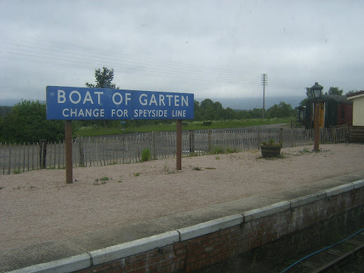 Scotland - The small station of Boat of Garten, with the signboard