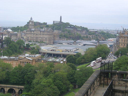 Scotland - Edinburgh - old world and new world - taken from mid way up the castle