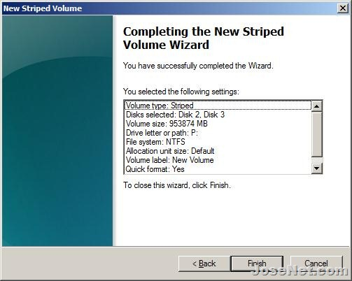 New Striped Volume - Wizard completed