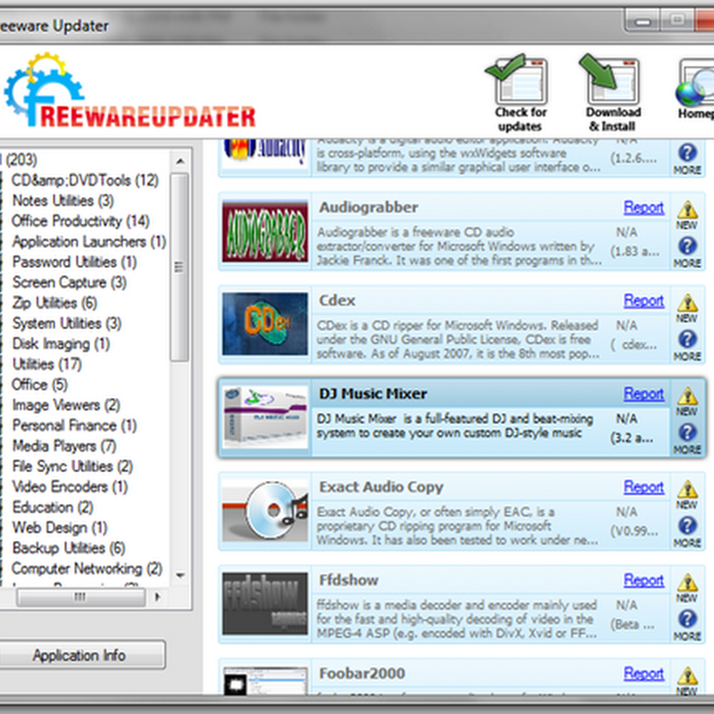 FreewareUpdater - 200+ freeware applications under one roof