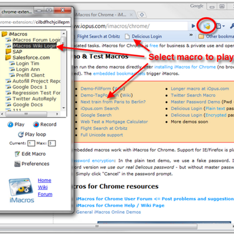 iMacros, the macro recorder extension for Chrome
