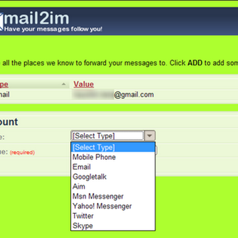 Mail2.im forwards your email messages to IM, Twitter or phone