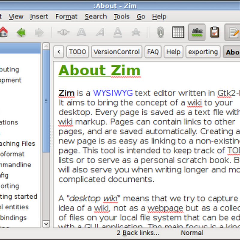 Zim  A Wiki on the desktop