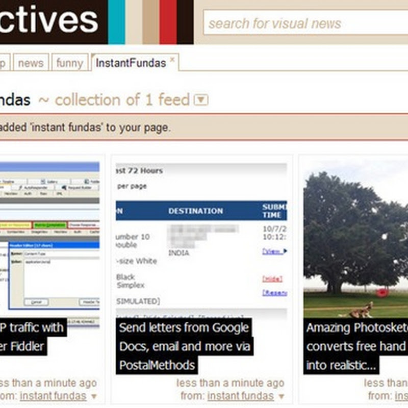 Spectives, an online visual RSS feed reader