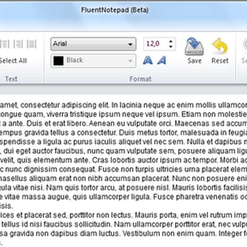 FluentNotepad - Notepad with the Ribbon interface