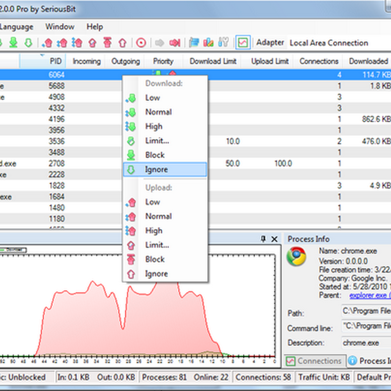 NetBalancer: Regulate network bandwidth by application