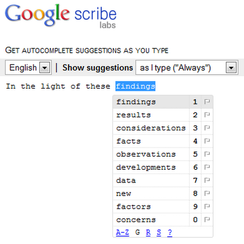 Google Scribe brings text/phrase autocompletion anywhere on the web